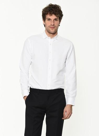 George Hogg George Hogg Itlayan Yaka Uzun Kollu Slim Fit Erkek Gömlek Beyaz